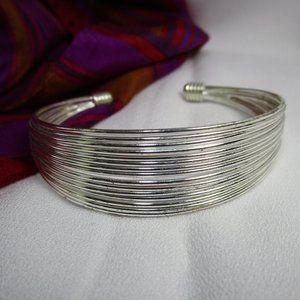 Vintage Silver Tone Wire Cuff Bracelet